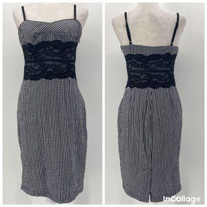 Guess Black White Checkered & Lace Fitted Dress 5